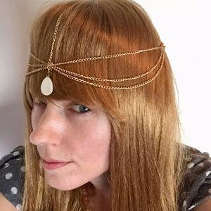 Gold Head Chain Faux Mother-of-Pearl Teardrop